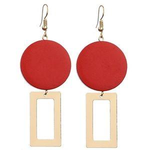 Jewelry - NEW Wooden Geometric Long Earrings (Red)